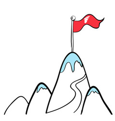 flag on top of mountain in business concept vector image