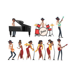flat set jazz artists characters vector image