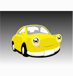funny yellow car vector image