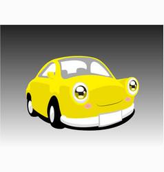 Funny yellow car vector