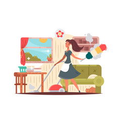 girl housekeeper cleans apartment vector image