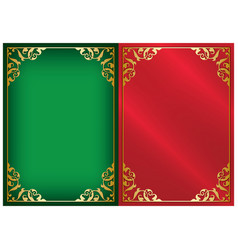 green and red backgrounds with gold frames vector image