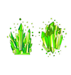 Green emerald crystal cartoon cute quartz vector