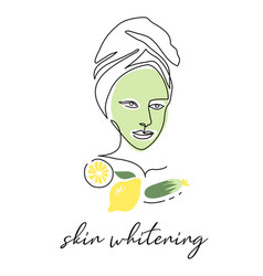 Green face mask with cucumber and lemon skin vector