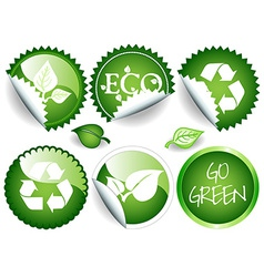 Green stickers vector image
