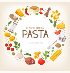 group of pasta ingredients in circle border vector image