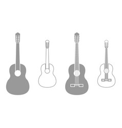 guitar grey set icon vector image