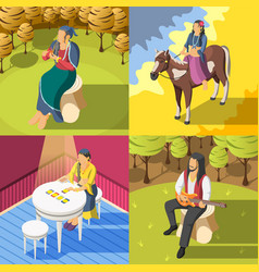 Gypsies isometric 2x2 design concept vector
