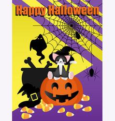 halloween elements background with happy vector image