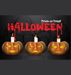halloween pumpkins with candles vector image
