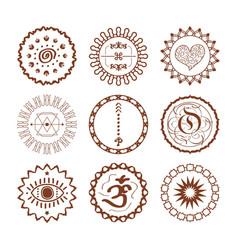 hand drawn brown henna circle symbolic emblems vector image