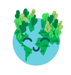 happy planet earth emoticon with green tree vector image