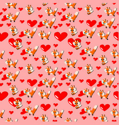 happy valentine dayfox lover and heart with pink vector image