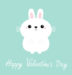 happy valentines day white bunny rabbit hare icon vector image