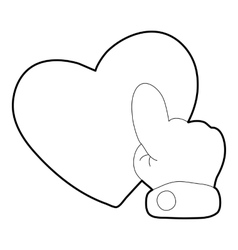 Heart touch icon outline style vector