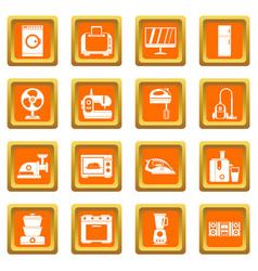 Household appliances icons set orange vector