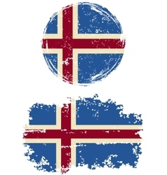 Icelandic round and square grunge flags vector image