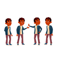 indian boy schoolboy kid poses set high vector image