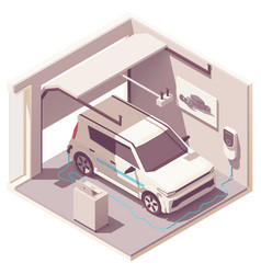 Isometric garage and electric vehicle vector