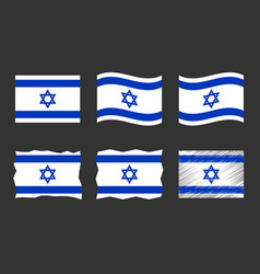 Israel flag set official vector