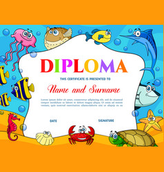 Kids education diploma with fish crab and turtle vector