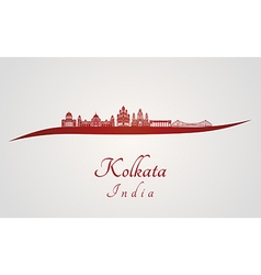 Kolkata skyline in red vector image