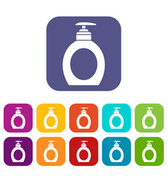 Liquid soap icons set vector