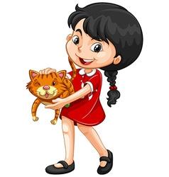 Little girl hugging kitten vector