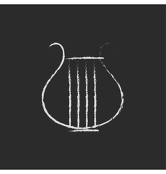 Lyre icon drawn in chalk vector