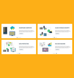 mainframe computer cloud storage security data vector image