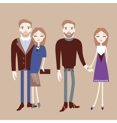 Man and woman holding hands Fashionable couple vector