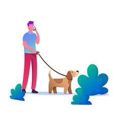 Man walking with dog outdoors at summertime male vector