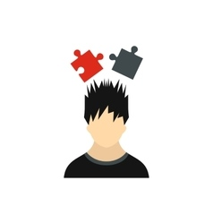 Man with puzzles over his head icon flat style vector