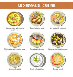 Mediterranean cuisine dishes icons set for vector