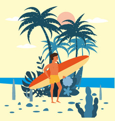 men surfer character with surfboard in shorts on vector image