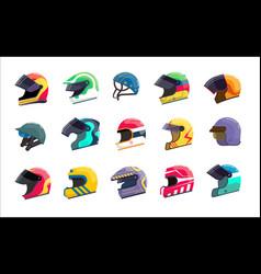 Motor helmet racing uniform with visor for head vector