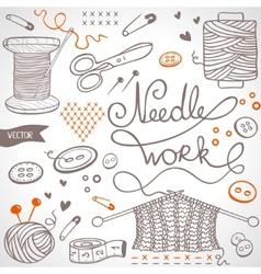 needlework set vector image