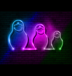neon sign russian nesting dolls matryoshka set vector image