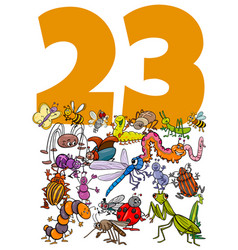 Number twenty three and cartoon insects group vector