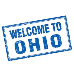 Ohio blue square grunge welcome isolated stamp vector