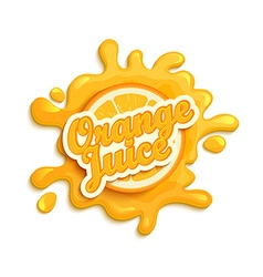 Orange juice label splash vector image