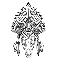 outline drawing deer skull with native cap of vector image