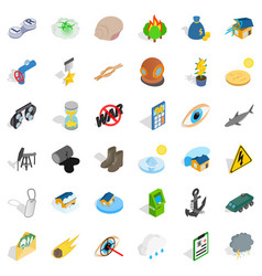 Painful icons set isometric style vector