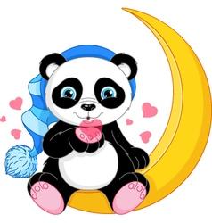 Panda on the Moon vector