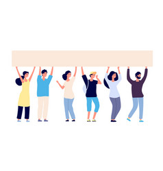 People with blank banner people group activists vector
