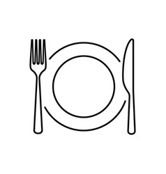 Plate knife spoon and fork line icon vector