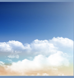 Realistic clouds on blue sky background vector