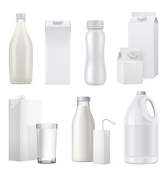 realistic milk bottle package icon set vector image