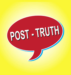 Red icon post truth on a yellow background vector