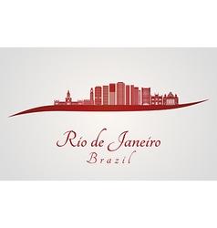 Rio de janerio V2 skyline in red vector image